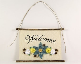 Paper Quilled Welcome Sign, 3D Quilled Banner, Paper Flower Decor, Rustic Wall Art, Blue Yellow White Decor, Housewarming Gift, Entryway Art