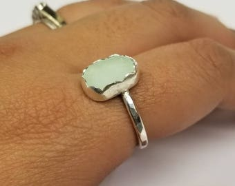 Seafoam Sea Glass Sterling Ring Size 7.25