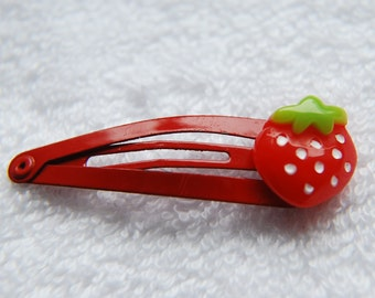 Strawberry Snap Hair Clips - Pack of 2 - Red