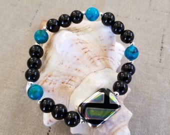 Black Onyx, Dyed Aquamarine with Black glass gemstones