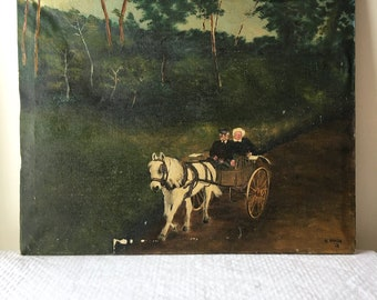 Antique 1930s Landscape Oil Painting Horse and Carriage Signed Al Niksa