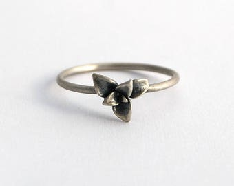 Succulent ring - sterling silver botanical jewelry