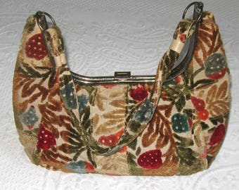 tapestry bag . 60s tapestry purse . tapestry velvet purse . tapestry hand bag
