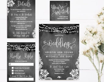Printable Wedding Invitations Packages, Wedding Invitations Sets Cheap, Print DIY Wedding Invitations, Formal Wedding Invitation Suite