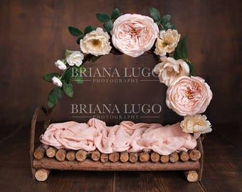 Digital floral newborn bed