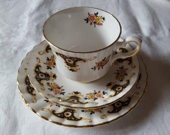 Vintage Royal Stafford - Balmoral bone china tea cups, saucers and side plates LIKE NEW