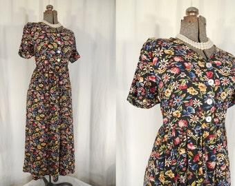 Floral Babydoll Dress 90s Tie Back Empire Waist Ditsy Midi Dress 1990s Bohemian Revival Vintage Black Small