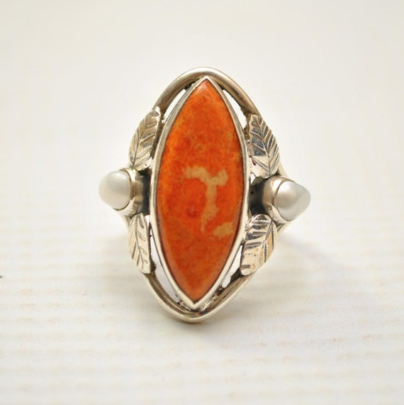 Sterling Silver Italian Coral and Pearl Sz 6 #9245