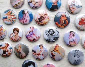 "Three (3) Classic Pin Up Girl 1"" Pinback Button - You Choose the Style"