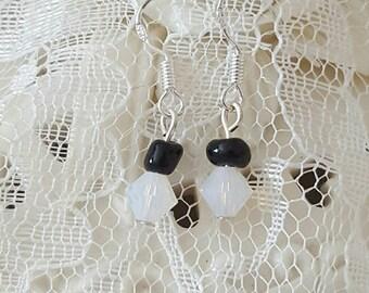 Opalite and Black Jasper Seed Earrings