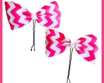 Chevron Hot Pink White Pair Hair Pins Baby Girl Teen Women