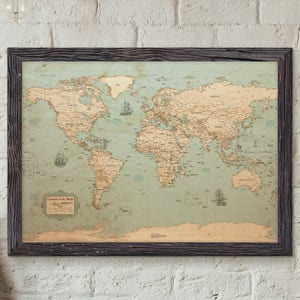 World map etsy world map rustic style uncustomized old style wall map map decor gumiabroncs Gallery