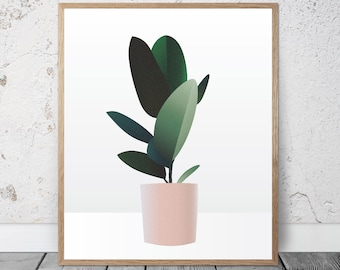 Rubber Plant / Succulent / Poster / Download / Printable / Wall Art