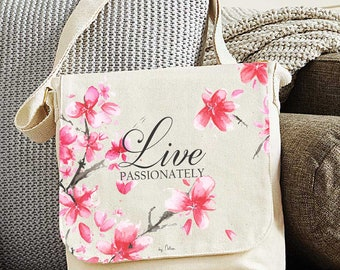 Shoulder bag purse canvas positive thinking -Live passionately Fair trade bag