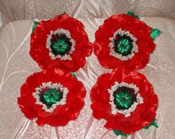 Kanzashi flowers poppy barrette, handmade, brooch, hair ornament,