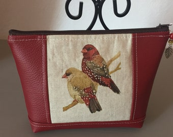 Your red bird couple make-up pouch