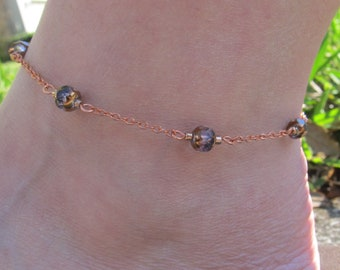 Violet And Copper Beaded Chain Link Anklet