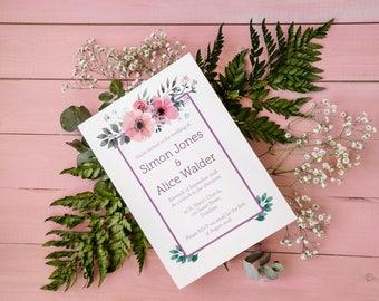 Beautiful Floral Wedding Invitation Modern Minimalist Pink