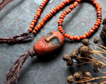 Ancient god necklace, orange shaman necklace, primitive strenght amulet, pagan god necklace, adjustable ceramic necklace, bohemian necklace