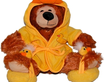"""14"""" Tub Teddy Bear, Bob the Bear Plush Toy, Ducky Robe and Slippers, Bright Yellow Outfit"""