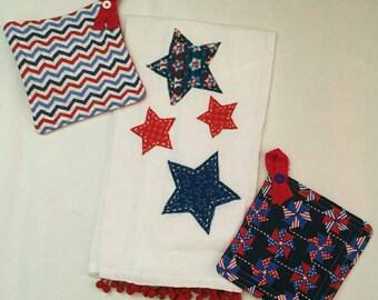 Decorative 4th of July flour sack tea towel