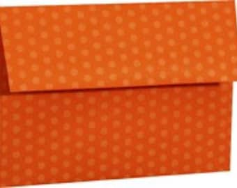 REDUCED for QUICK SALE Orange Polka Dot Envelopes - Set of 25 A7 Size - Perfect for 5x7 Photos or Cards