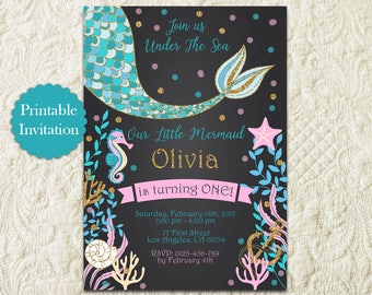 Chalkboard Mermaid Birthday Invitation, Chalkboard Under The Sea Birthday Pool Party Invitation, Gold Glitter Purple Teal Mermaid Invite