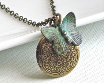 Small Brass Locket  Butterfly Necklace - Embossed, Verdigris Patina