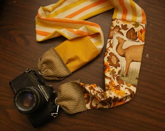 Eclectic Camera Strap \\ Vintage material and Camel