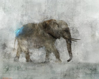 Elephant March 01: Giclee Fine Art Print 13X19