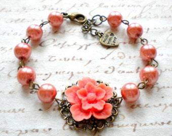 Orange Bracelet Flower Bracelet Gift For Sister Peach Pearl Bracelet Orange Bridesmaid Bracelet Orange Wedding Jewelry Gift For Her