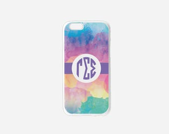 Gamma Sigma Sigma Sorority Water Color Monogram Cell Phone Case Hard White Plastic iPhone Samsung Multiple Phone Versions GSS