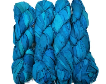 New! Sari Silk Ribbon, 100g  Irredescent (Cobalt)
