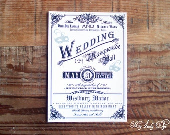 100 Halloween Wedding Invitations Masquerade Invitations - By My Lady Dye