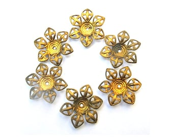 6 VINTAGE flower cap beads, metal lace design 27mm, you can change the gesture of the petals