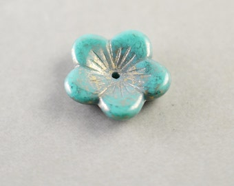 Aqua Flower Glass Bead, Mint Glass 15mm Bead, Focal Bead, One