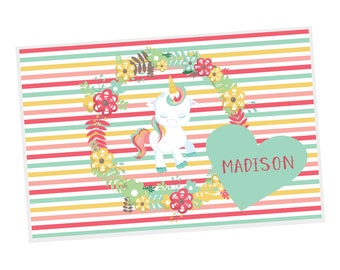 Unicorn Personalized Placemat - Unicorn Floral Green Heart Flowers Stripes with Name, Customized Laminated Placemat