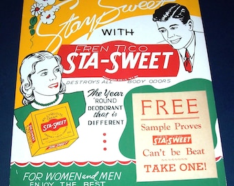 1940s Sta-Sweet deodorant store display sign