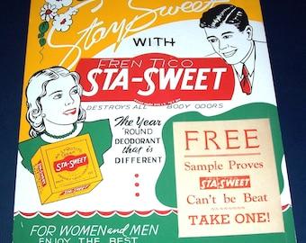 1940s Sta-Sweet deodorant store display sign