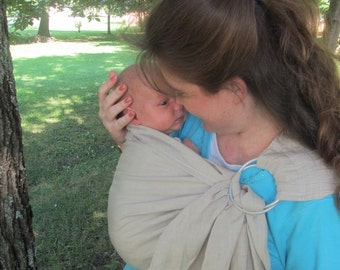 Linen Sling, Ring Sling, baby carrier, Baby Sling, Linen RS, Linen newborn carrier, Linen baby sling, DVD, maternity, summer sling, washable