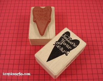 Follow Your Heart Stamp / Invoke Arts Collage Rubber Stamps