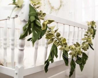 Felt Tropical Leaf Garland - felt leaf chain - felt greenery decor - Leaf Garland