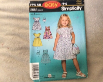 Simplicity pattern #2688 child's dress and purse size 3 to 8
