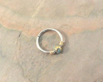 Nose Hoop Earrings Gold and Turquoise Beaded Cartilage Hoop 16 18 20 Gauge Earring Septum Tragus Nose Ring Upper Ear Piercing
