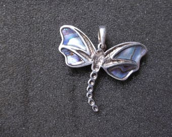 Sterling Silver Southwest Abalone Dragon Fly  pendant