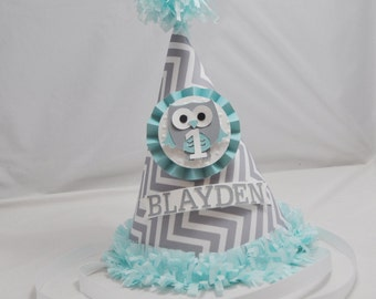 Boy Owl Party Hat, 1st Birthday Boy, Owl Birthday, Personalized Owl Birthday Hat, Chevron, Photo Prop, Grey and Aqua, Smash Cake Hat