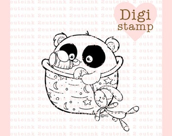 Baby Panda Digital Stamp for Card Making, Paper Crafts, Scrapbooking, Hand Embroidery, Invitations, Stickers, Coloring Pages