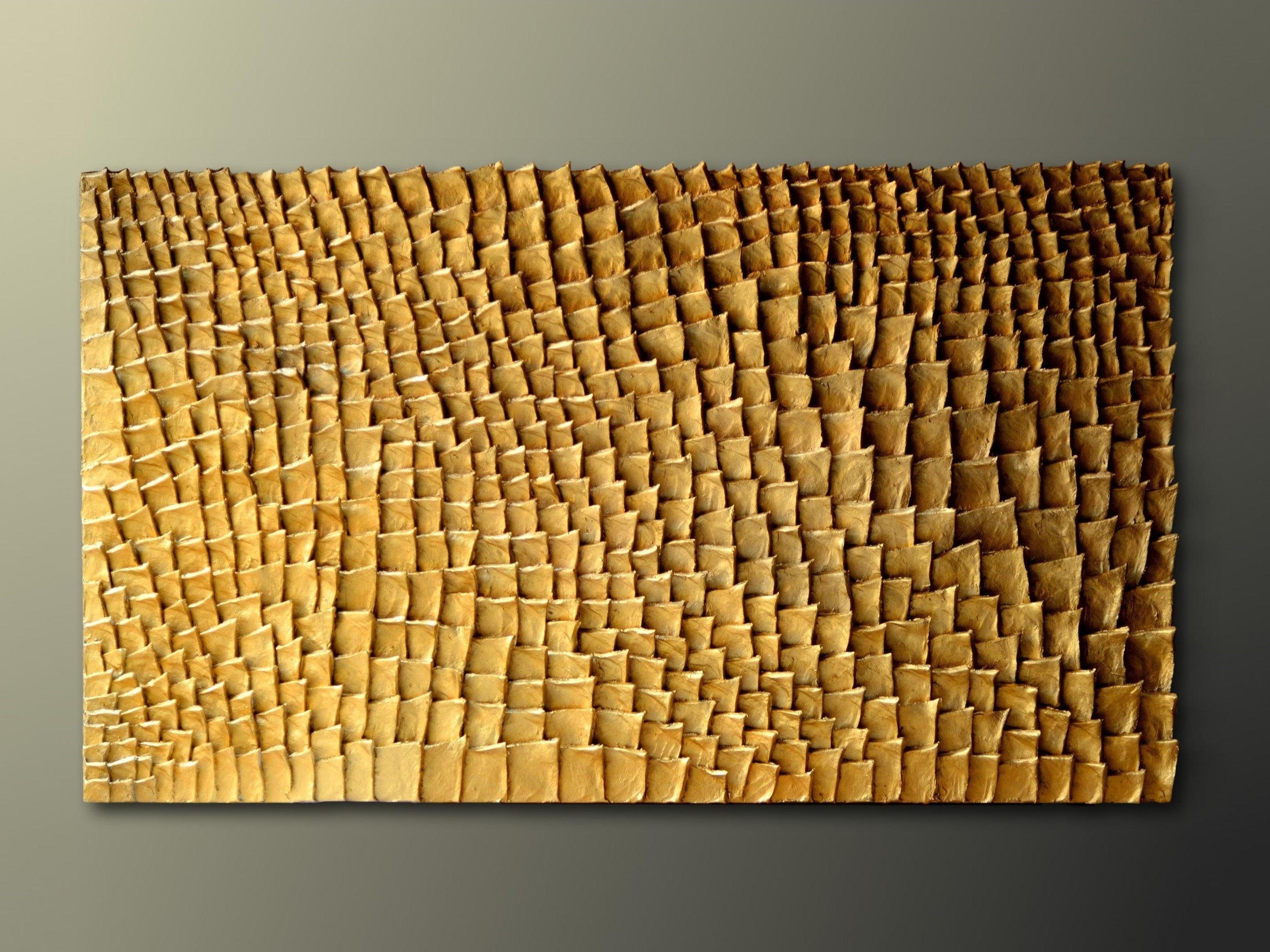 Gold Wall Art Gold Wall Sculpture Organic Texture Wall Art Gold Wall Art