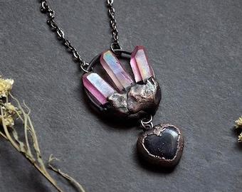 Pink Aura Quartz Crystal Point Necklace with Blue Goldstone Heart |  Antique Copper | Aura Quartz Point