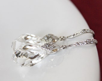Swarovski Crystal Drop Wedding Earrings, Rhinestone Crystal Drop Bridal Earrings, Simple Everyday Jewelry